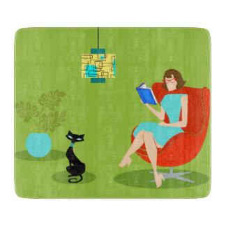 Retro Reading Woman Cutting Board