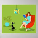 Retro Reading Woman Poster