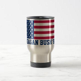 Retro Reagan Bush '84 American Flag Travel Mug