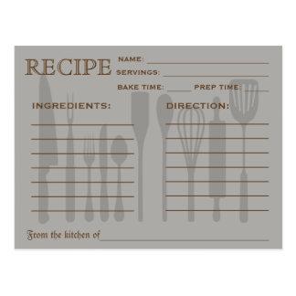 Retro Recipe Card Kitchen Tools Striped