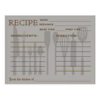 Retro Recipe Card Kitchen Tools Striped Postcard