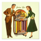 Retro Record Hop Sock Hop Jukebox Music Invitation