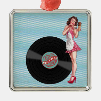 Retro Record Pin Up Girl Christmas Ornament