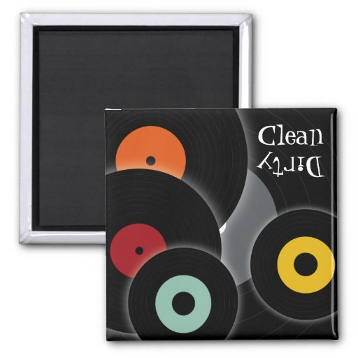 Retro Records Clean/Dirty Dishwasher Magnet Refrigerator Magnets
