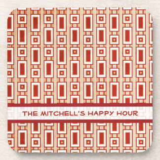 Retro Rectangles Personalized Coasters Set - Red