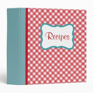 Retro Red and Aqua Recipe Binder