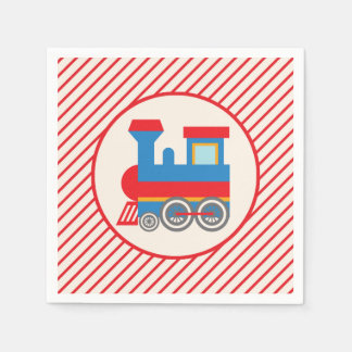 Retro Red and Blue Train Disposable Napkin