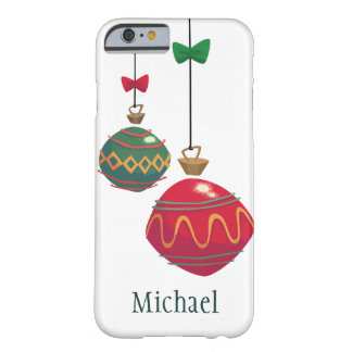 Retro Red and Green Christmas Ornaments Barely There iPhone 6 Case
