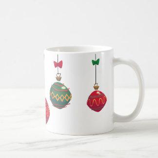 Retro Red and Green Christmas Ornaments Coffee Mug