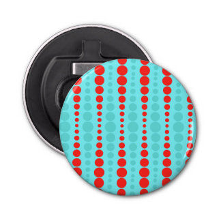 Retro Red and Turquoise Dots Bottle Opener