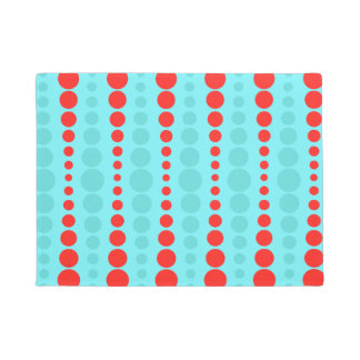 Retro Red and Turquoise Dots Door Mat