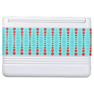 Retro Red and Turquoise Dots Igloo Can Cooler