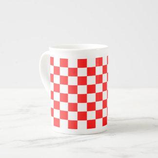 Retro Red and White Checkered Rose Mug