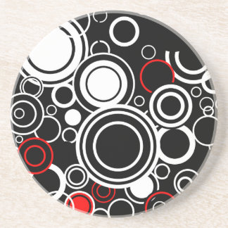 Retro Red And White Circles Coaster
