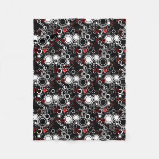 Retro Red And White Circles Fleece Blanket