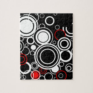 Retro Red And White Circles Jigsaw Puzzle