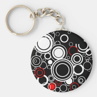 Retro Red And White Circles Keychain