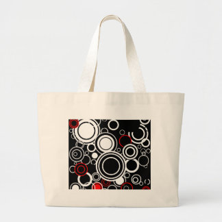 Retro Red And White Circles Large Tote Bag