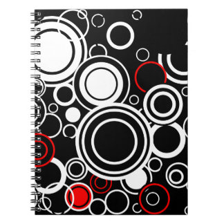 Retro Red And White Circles Spiral Notebook
