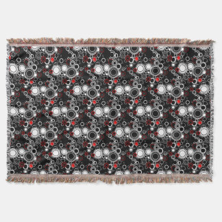 Retro Red And White Circles Throw Blanket