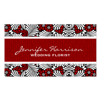 Retro Red and White Fern Custom Business Card