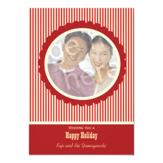 Retro Red And White Stripes Holiday Photo Card