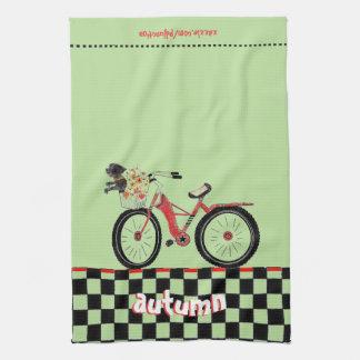 Retro Red Bike with Little Black Dog Autumn Kitchen Towel