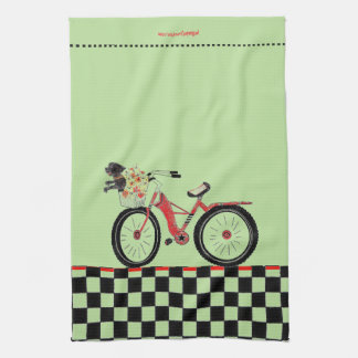 Retro Red Bike with Little Black Dog Kitchen Towel
