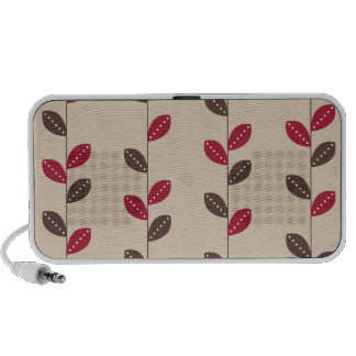 Retro Red & Brown Leaf Pattern Portable Speakers