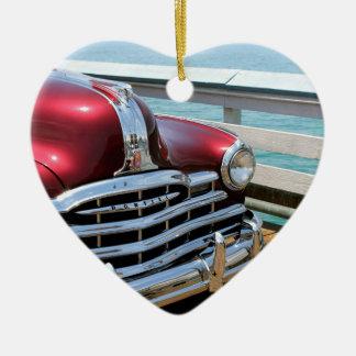 Retro Red Car Ceramic Heart Ornament