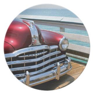 Retro Red Car Plate