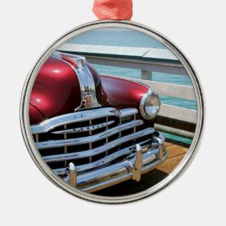 Retro Red Car Silver-Colored Round Ornament