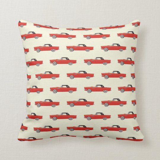 Retro Red Car Throw Pillow