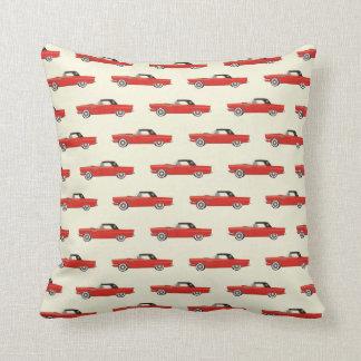 Retro Red Car Throw Pillow