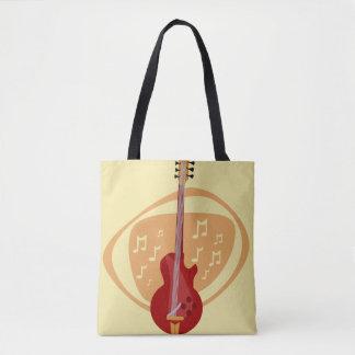 Retro Red Cool Guitar Tote Bag