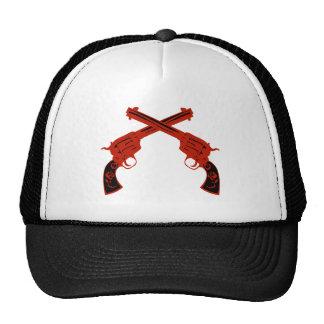 Retro Red Crossed Pistols Hat