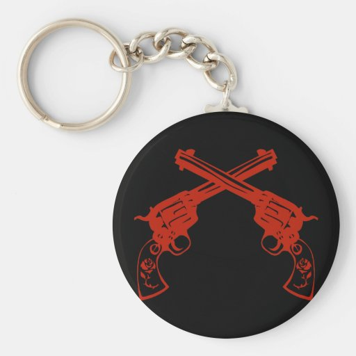 Retro Red Crossed Pistols Keychain