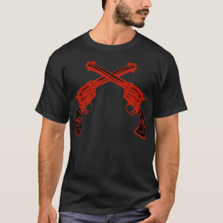 Retro Red Crossed Pistols T-Shirt