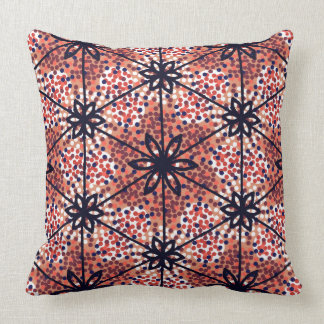 Retro red dots and black flowers throw pillow
