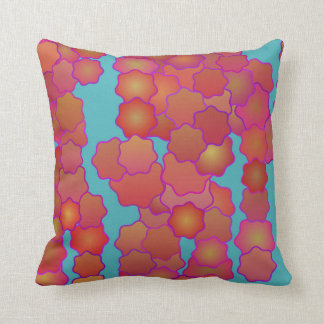 Retro Red Flowers Pillow