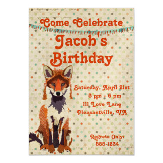 Retro Red Fox Birthday Invitation