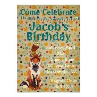 Retro Red Fox & Owl Birthday Invitation