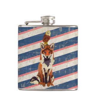 Retro Red Fox & Owl Flask