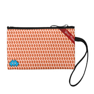 Retro red geometric personalized pixel warrior change purses