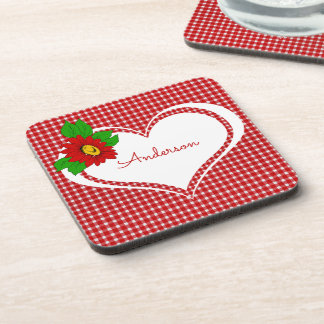 Retro Red Gingham Heart and Flower Personalized Beverage Coasters
