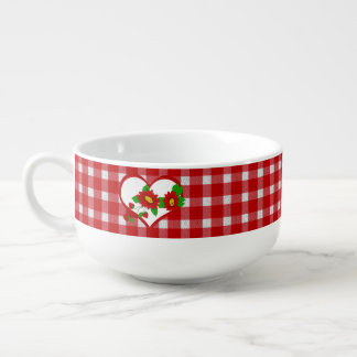 Retro Red Gingham, Hearts, Flowers, Strawberries Soup Mug