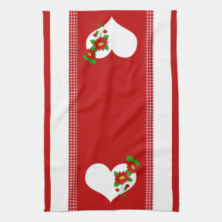 Retro Red Gingham, Strawberry, Flower, and Heart Kitchen Towels