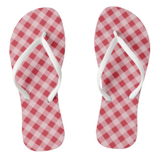 Retro Red Gingham Summer Flip Flops Sandals Gift
