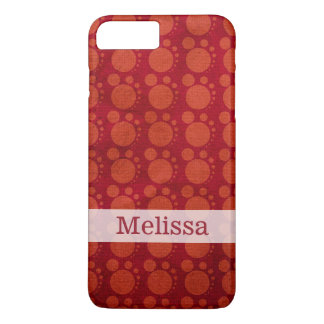 Retro Red Grungy Polka Dots Pattern Custom Name iPhone 7 Plus Case