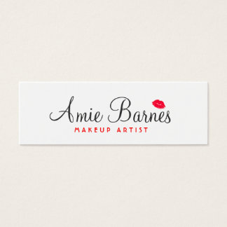Retro Red Kissing Lips Makeup Artist White Beauty Mini Business Card